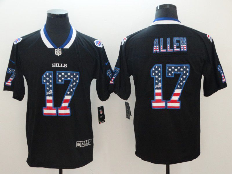 Men Buffalo Bills 17 Allen Nike USA Flag Fashion Black Color Rush Limited NFL Jerseys