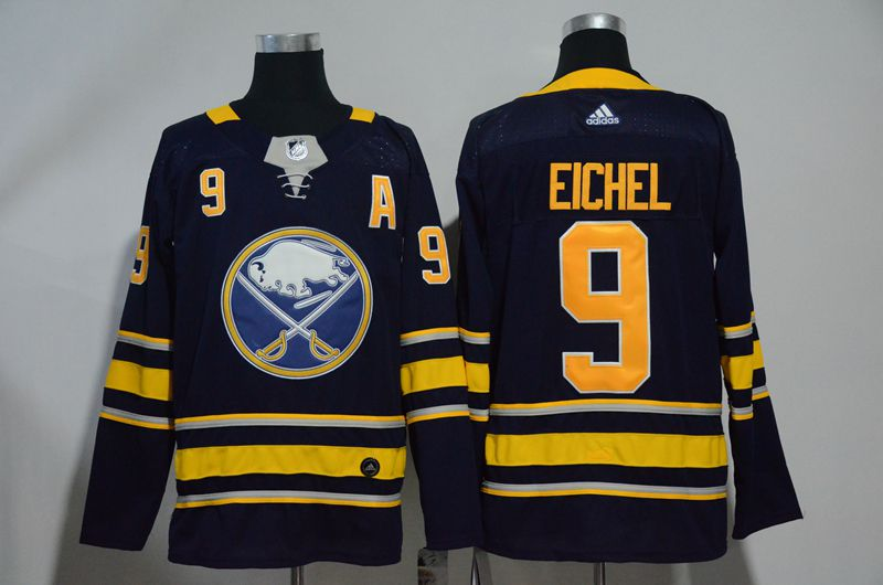 Men Buffalo Sabres 9 Eichel Blue Hockey Stitched Adidas NHL Jerseys