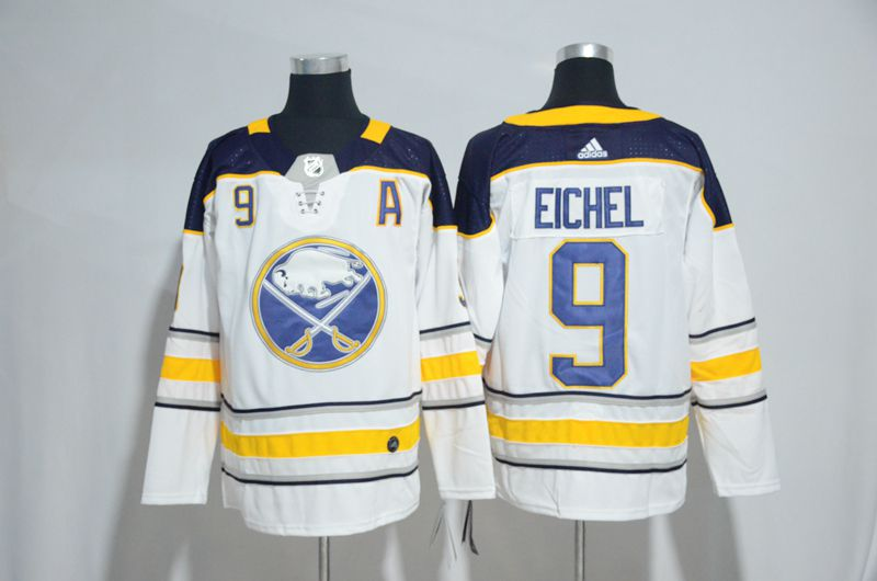 Men Buffalo Sabres 9 Eichel White Hockey Stitched Adidas NHL Jerseys