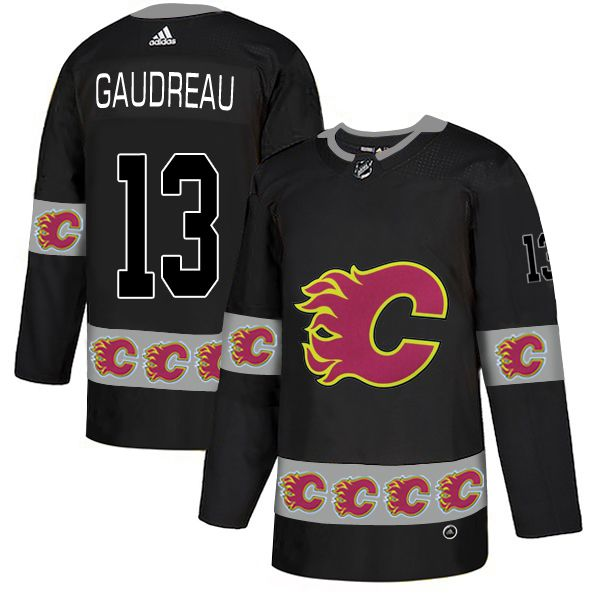 Men Calgary Flames 13 Gaudreau Black Adidas Fashion NHL Jersey