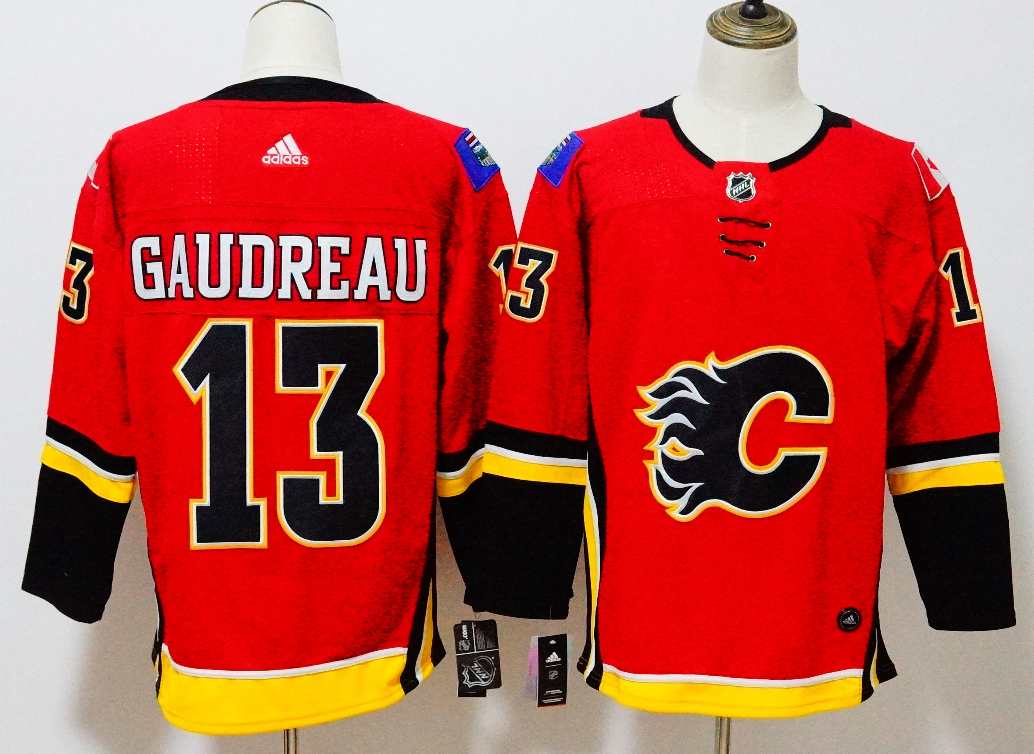 Men Calgary Flames 13 Gaudreau Red Hockey Stitched Adidas NHL Jerseys