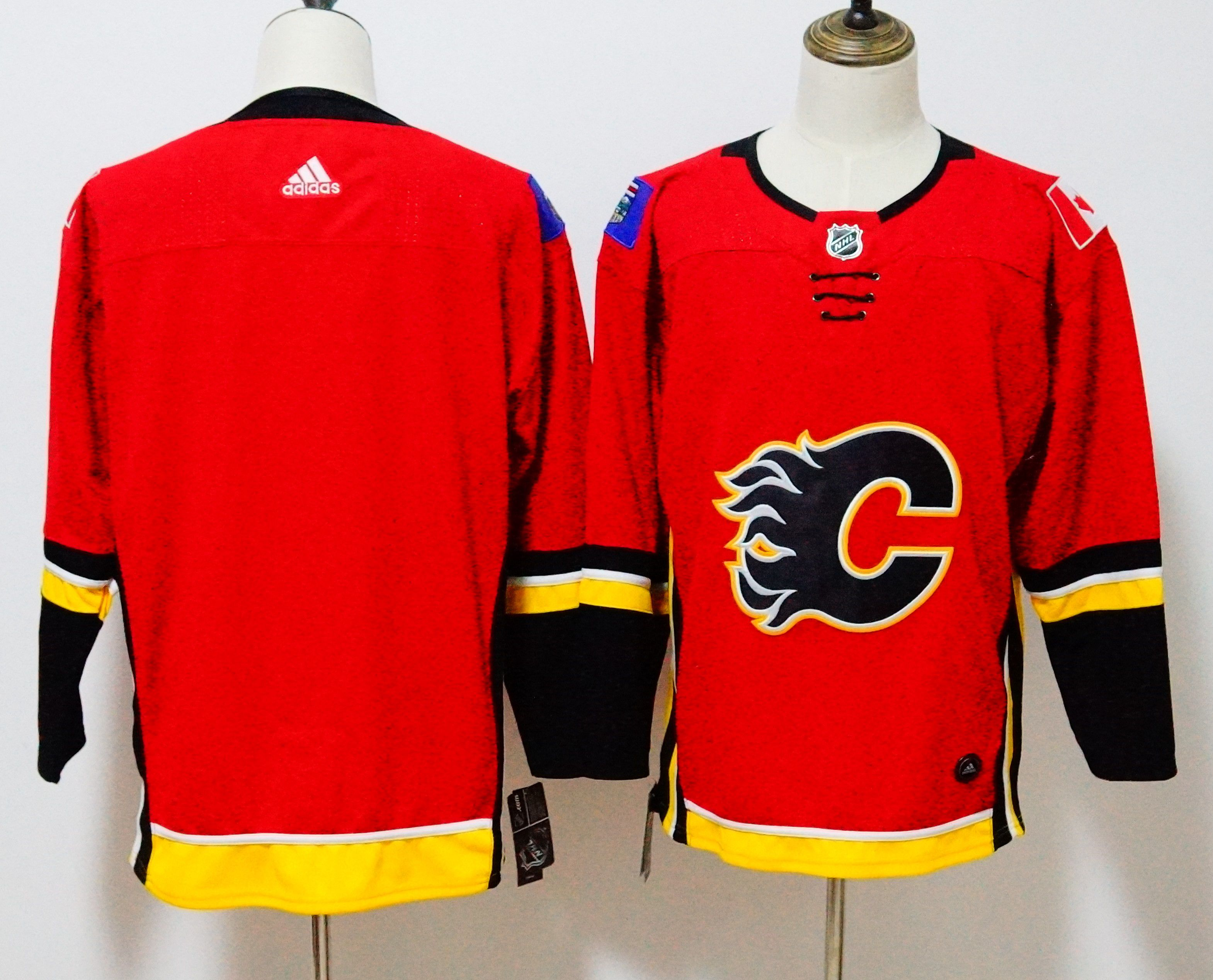 Men Calgary Flames Blank Red Hockey Stitched Adidas NHL Jerseys