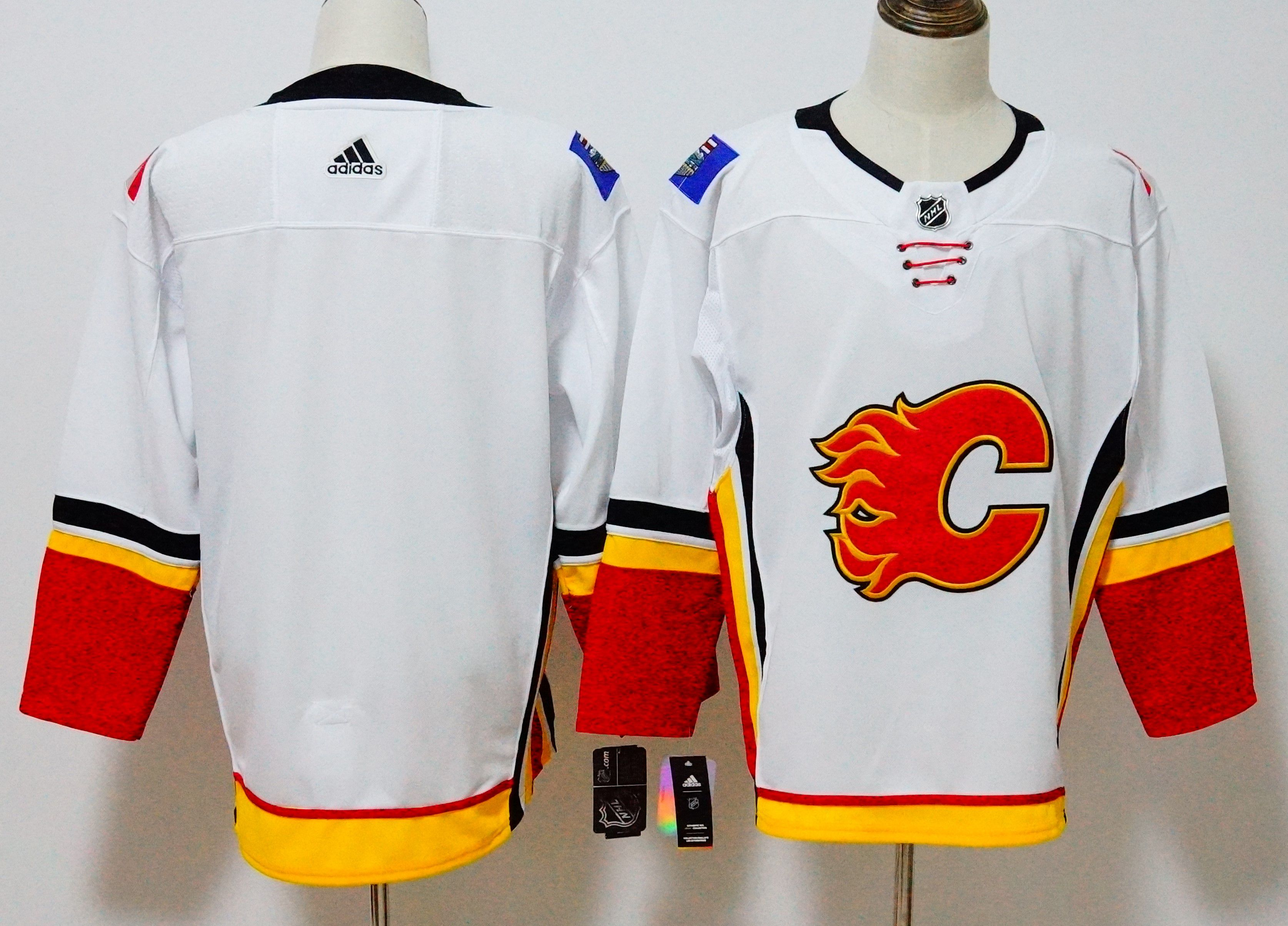 80830308d63 Men Calgary Flames Blank White Hockey Stitched Adidas NHL Jerseys