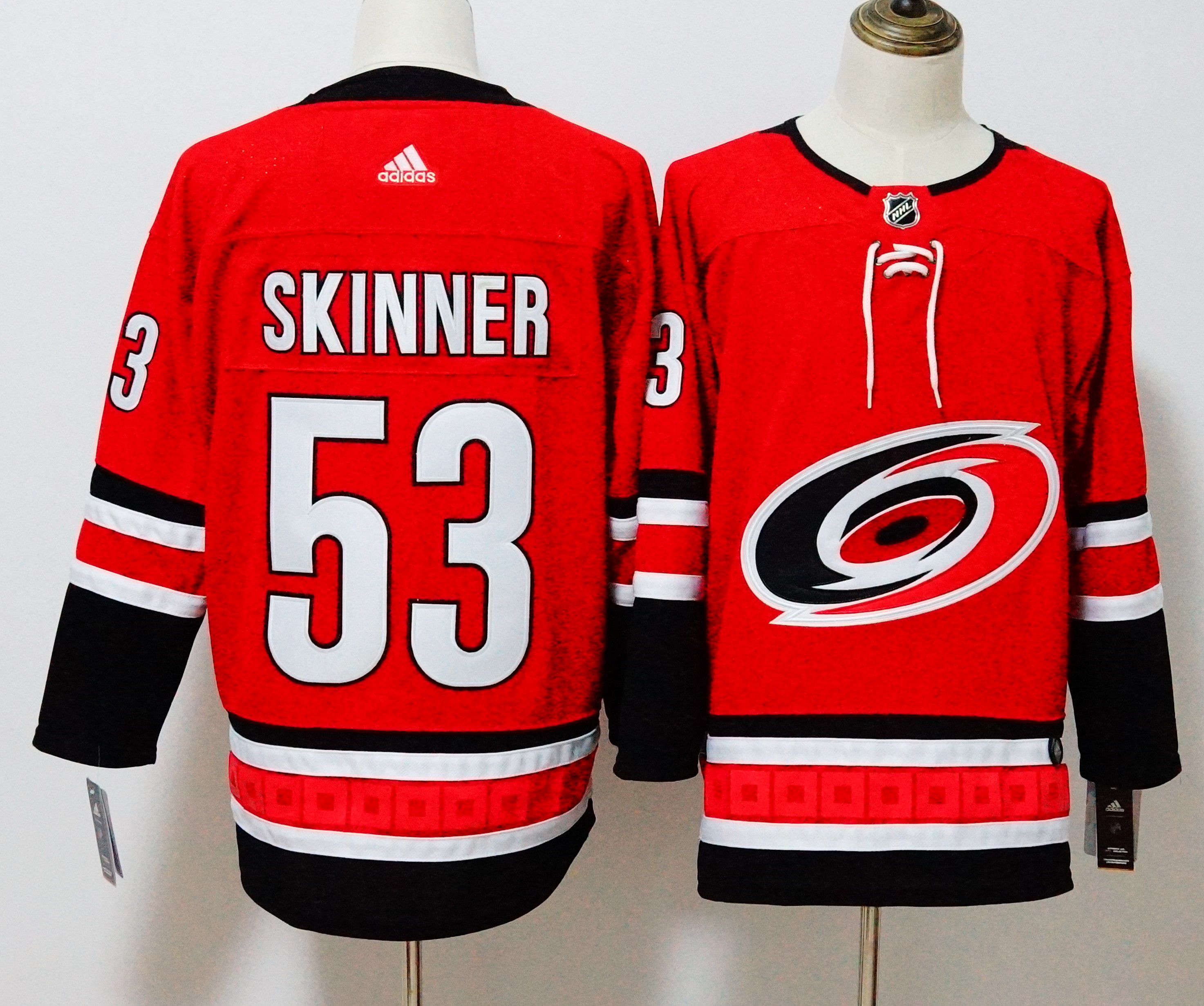 Men Carolina Hurricanes 53 Skinner Red Hockey Stitched Adidas NHL Jerseys