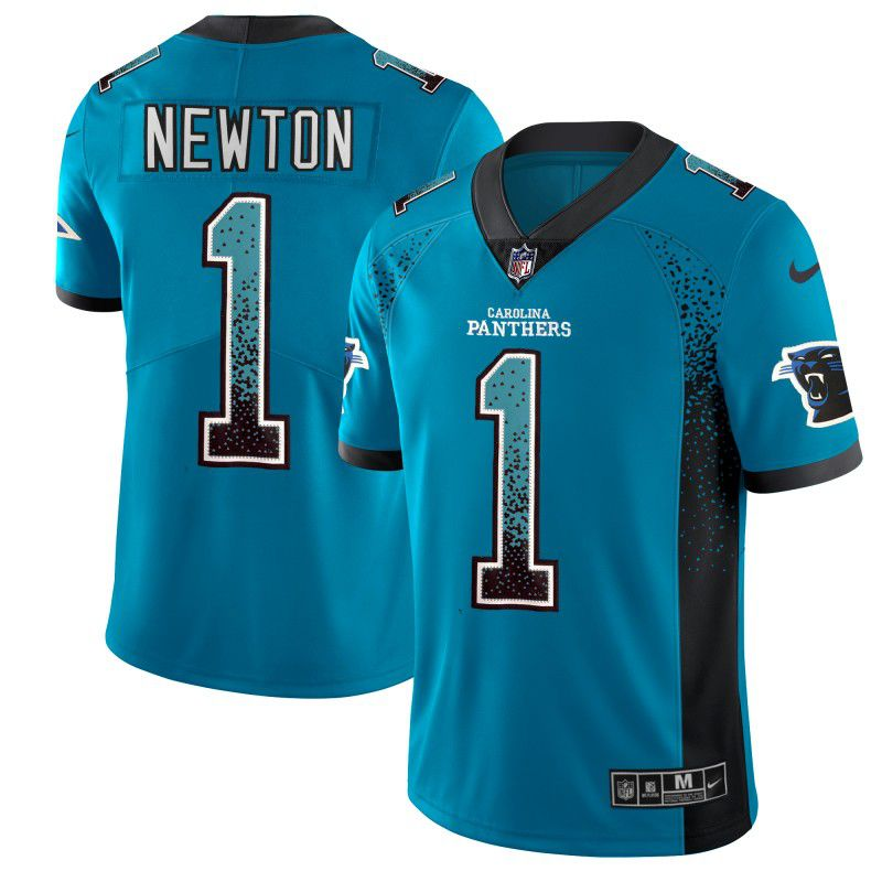 Men Carolina Panthers 1 Newton Blue Nike Drift Fashion Color Rush Limited NFL Jerseys