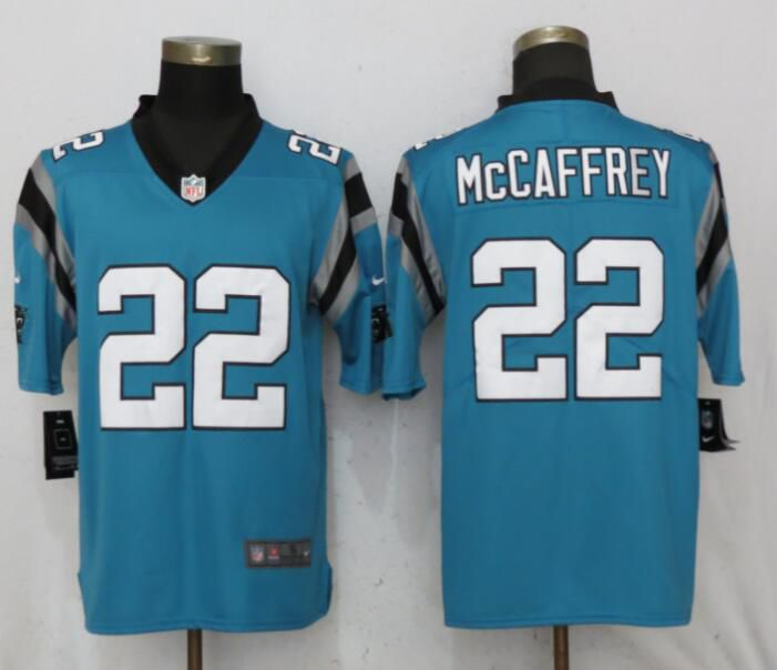Men Carolina Panthers 22 McCaffrey Blue Nike Vapor Untouchable Limited Playe NFL Jerseys