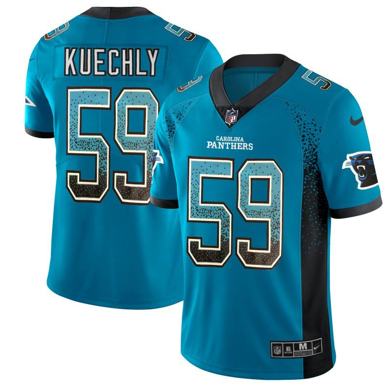 Men Carolina Panthers 59 Kuechly Blue Nike Drift Fashion Color Rush Limited NFL Jerseys