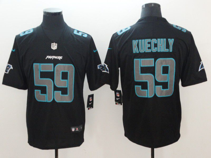 Men Carolina Panthers 59 Kuechly Nike Fashion Impact Black Color Rush Limited NFL Jerseys