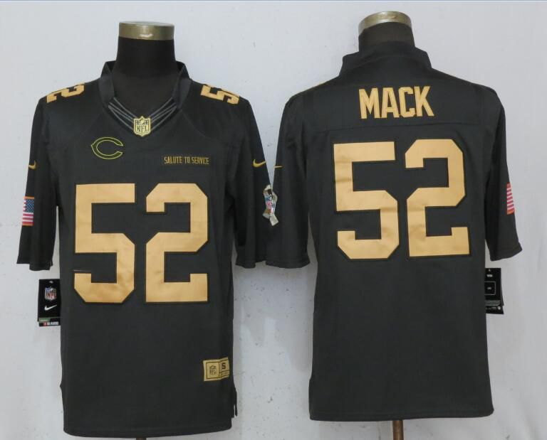Men Chicago Bears 52 Mack Gold Anthracite Nike Salute To Service Limited NFL Jerseys