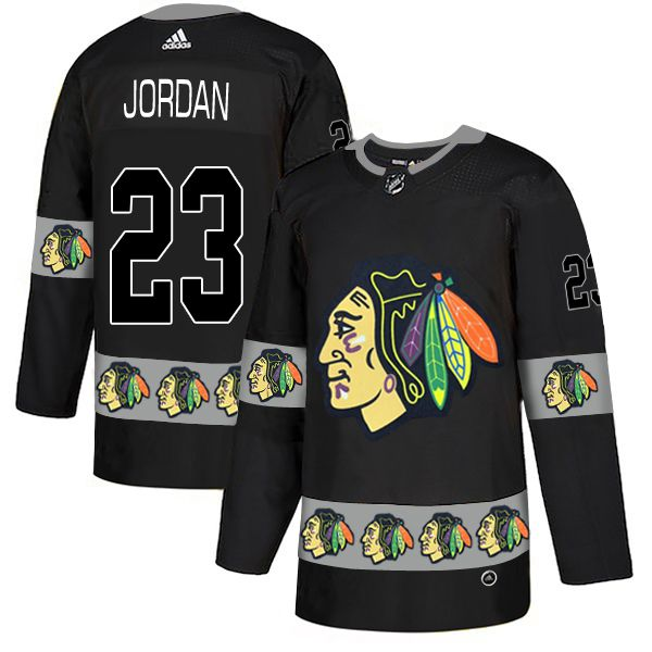 Men Chicago Blackhawks 23 Jordan Black Adidas Fashion NHL Jersey