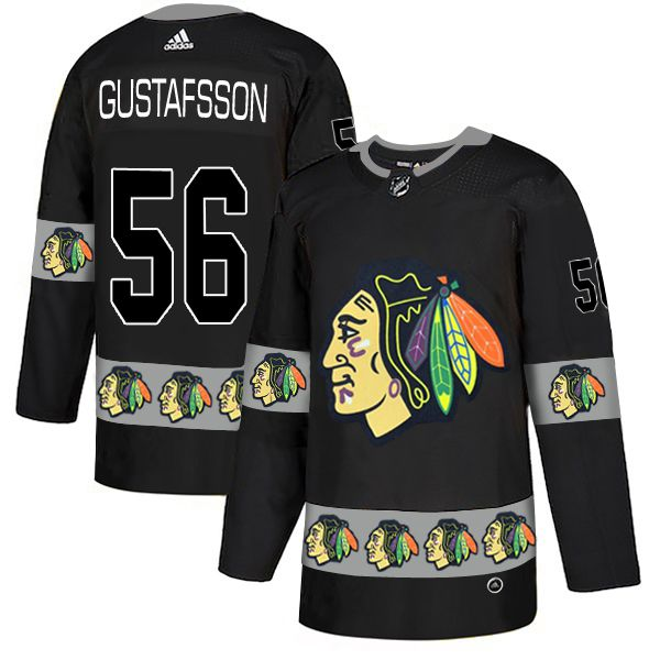 Men Chicago Blackhawks 56 Gustafsson Black Adidas Fashion NHL Jersey
