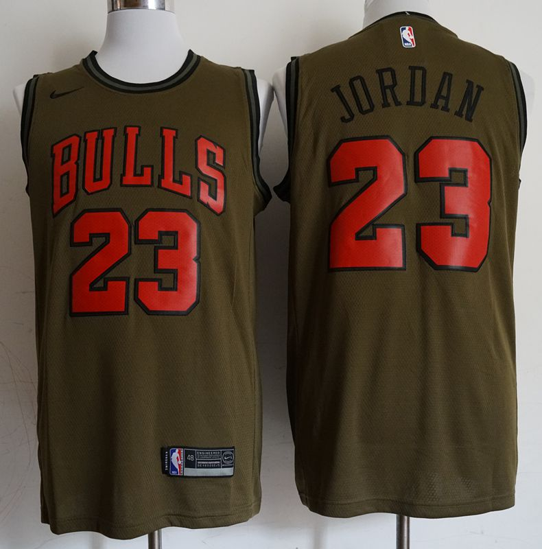 Men Chicago Bulls 23 Jordan Military green Game Nike NBA Jerseys