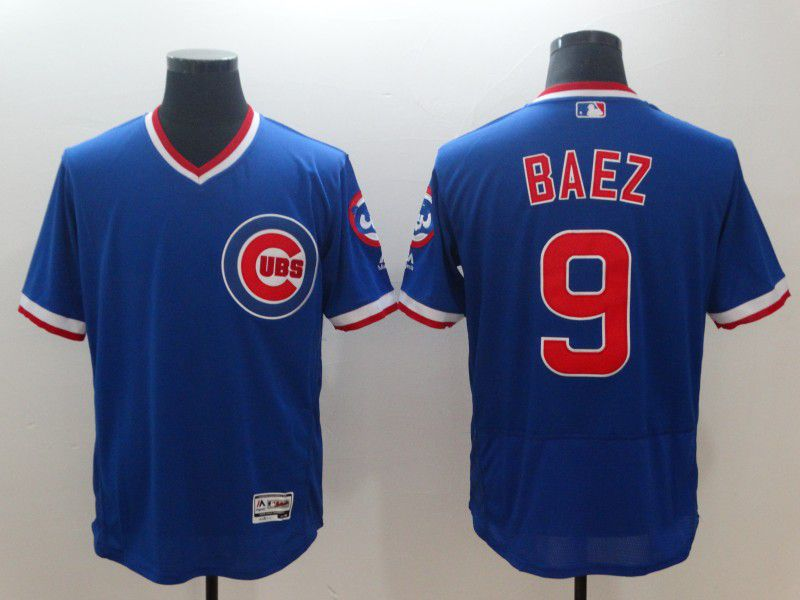 Men Chicago Cubs 9 Baez Blue Elite Throwback MLB Jerseys