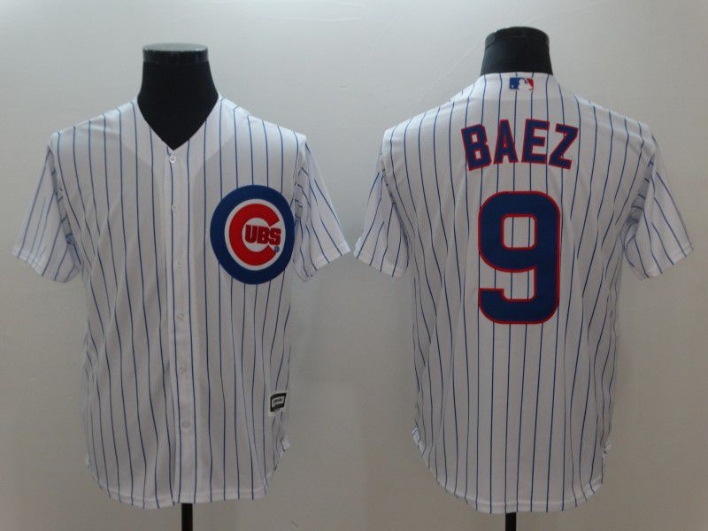 Men Chicago Cubs 9 Baez White Game MLB Jerseys