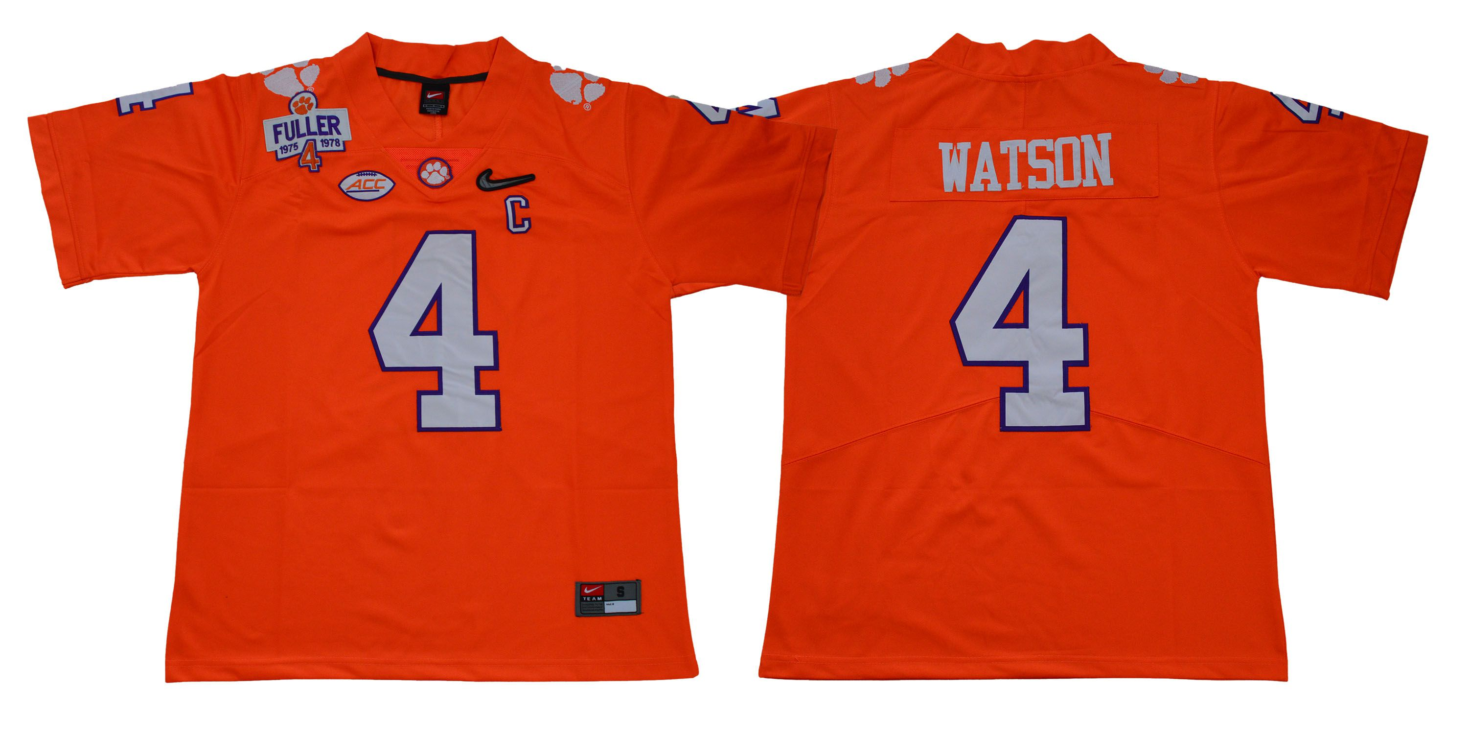 Men Clemson Tigers 4 Watson Orange Diamonds NCAA Jerseys