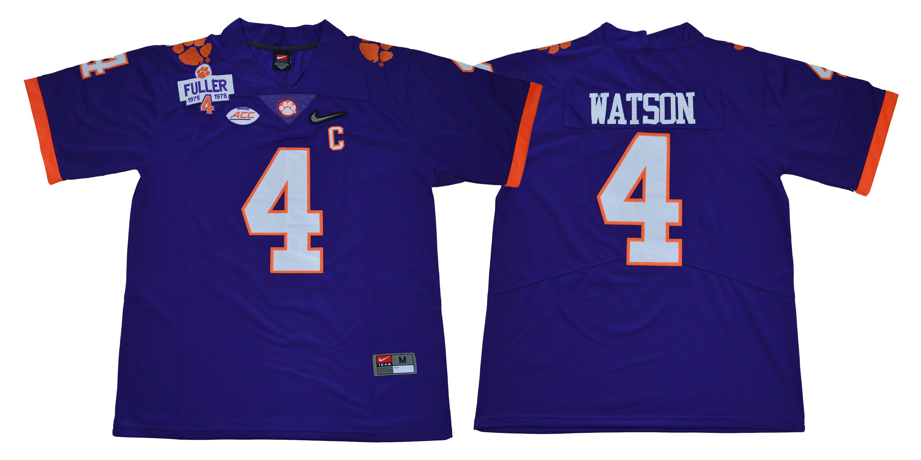 Men Clemson Tigers 4 Watson Purple Diamonds NCAA Jerseys