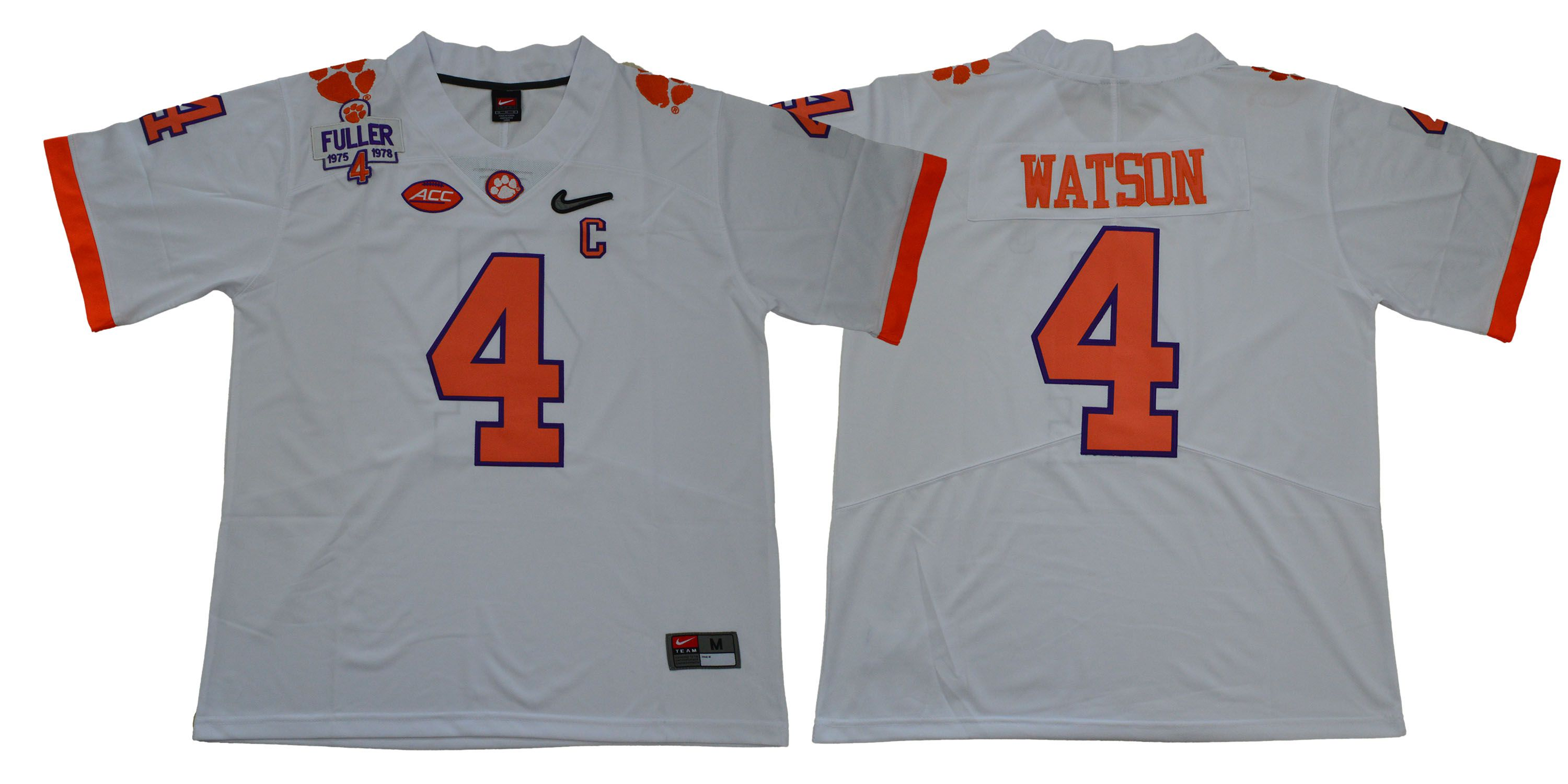 Men Clemson Tigers 4 Watson White Diamonds NCAA Jerseys