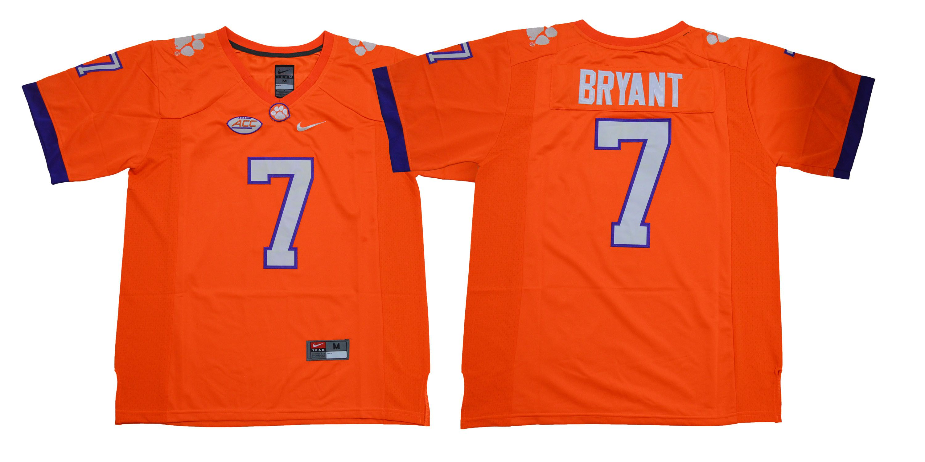 Men Clemson Tigers 7 Bryant Orange NCAA Jerseys