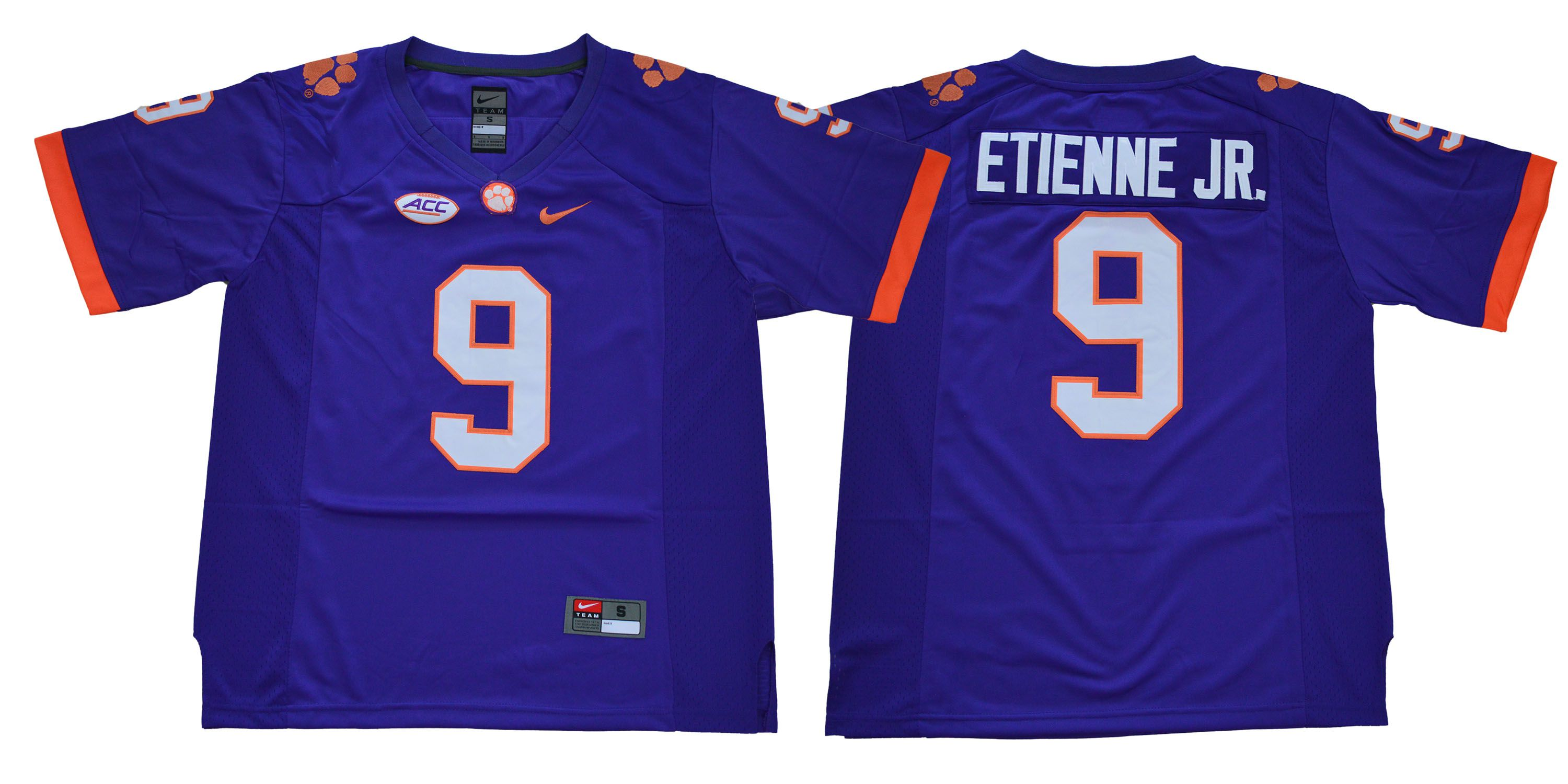 Men Clemson Tigers 9 Etienne jr purple NCAA Jerseys