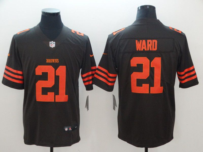 Men Cleveland Browns 21 Ward brown Nike Vapor Untouchable Limited Playe NFL Jerseys