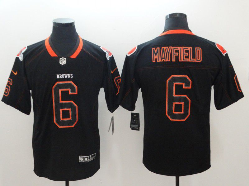 Men Cleveland Browns 6 Mayfield Nike Lights Out Black Color Rush Limited NFL Jerseys