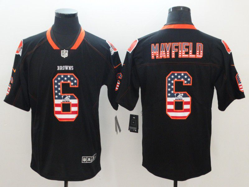 Men Cleveland Browns 6 Mayfield Nike USA Flag Fashion Black Color Rush Limited NFL Jerseys