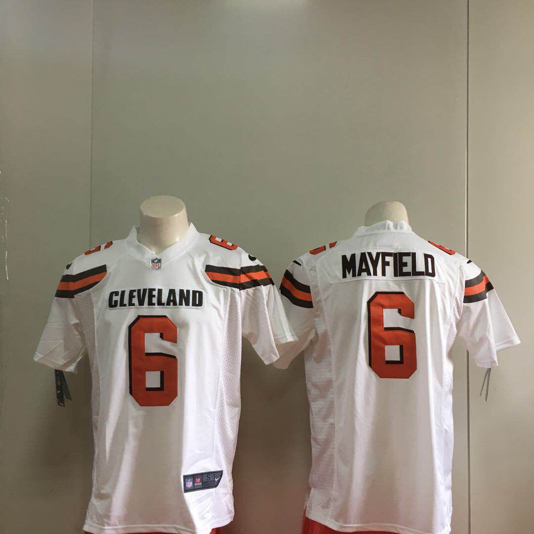 Men Cleveland Browns 6 Mayfield White Game Nike NFL Jerseys