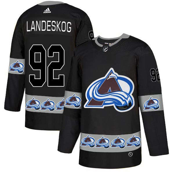 Men Colorado Avalanche 92 Landeskog Black Adidas Fashion NHL Jersey