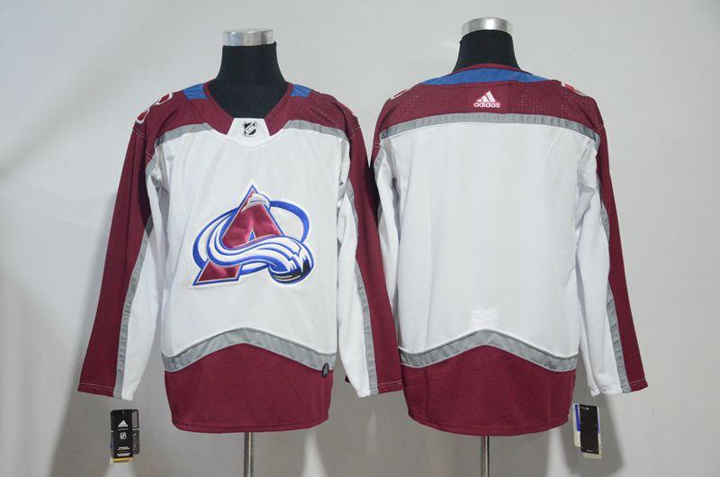 Men Colorado Avalanche Blank White Adidas Hockey Stitched NHL Jerseys