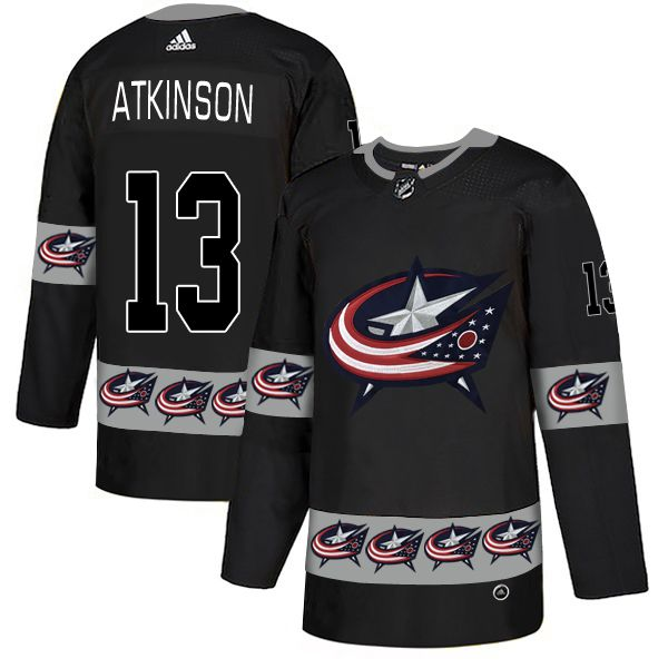 Men Columbus Blue Jackets 13 Atkinson Black Adidas Fashion NHL Jersey