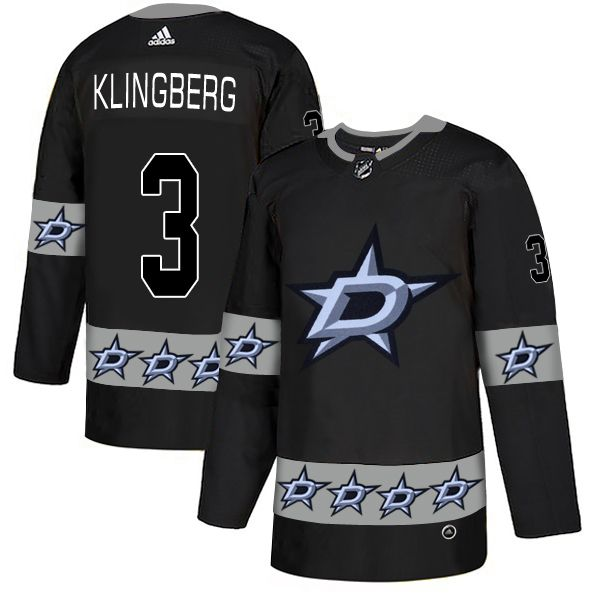 Men Dallas Stars 3 Klingberg Black Adidas Fashion NHL Jersey