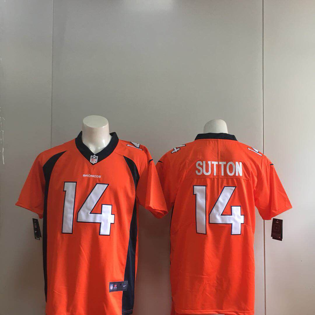 Men Denver Broncos 14 Sutton Orange Nike Vapor Untouchable Limited Playe NFL Jerseys