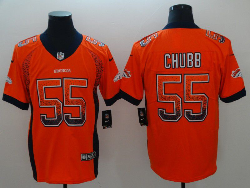 Men Denver Broncos 55 Chubb Drift Fashion Orange Color Rush Limited NFL Jerseys