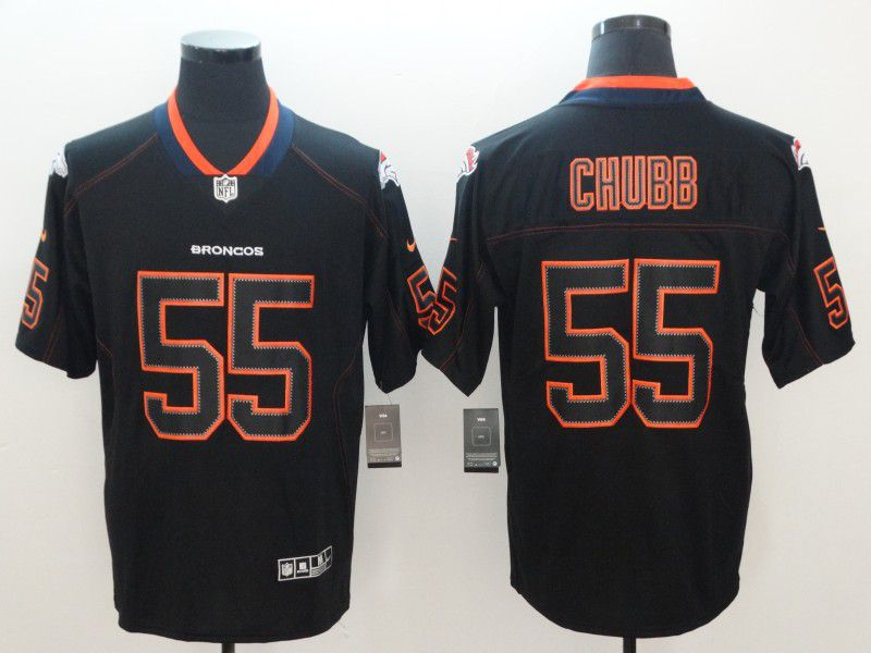 Men Denver Broncos 55 Chubb Nike Lights Out Black Color Rush Limited NFL Jerseys