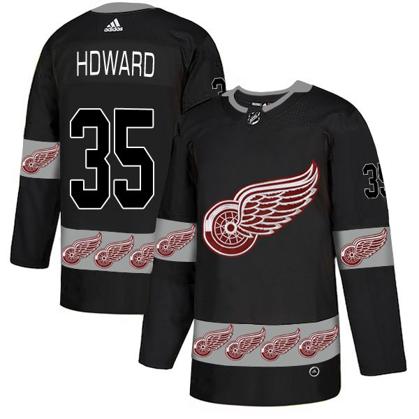 Men Detroit Red Wings 35 Hdward Black Adidas Fashion NHL Jersey