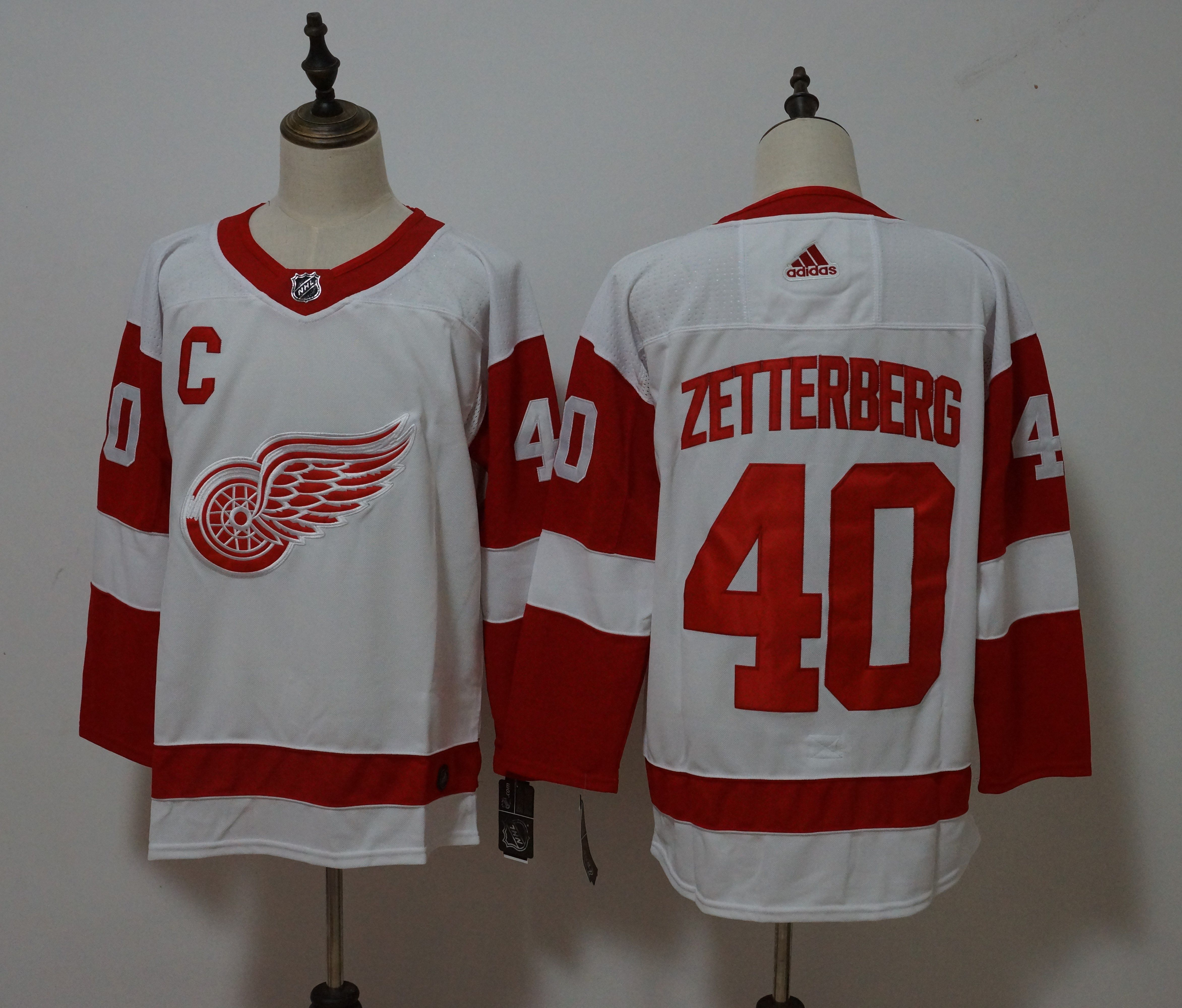 Men Detroit Red Wings 40 Henrik Zetterberg White Hockey Stitched Adidas NHL Jerseys