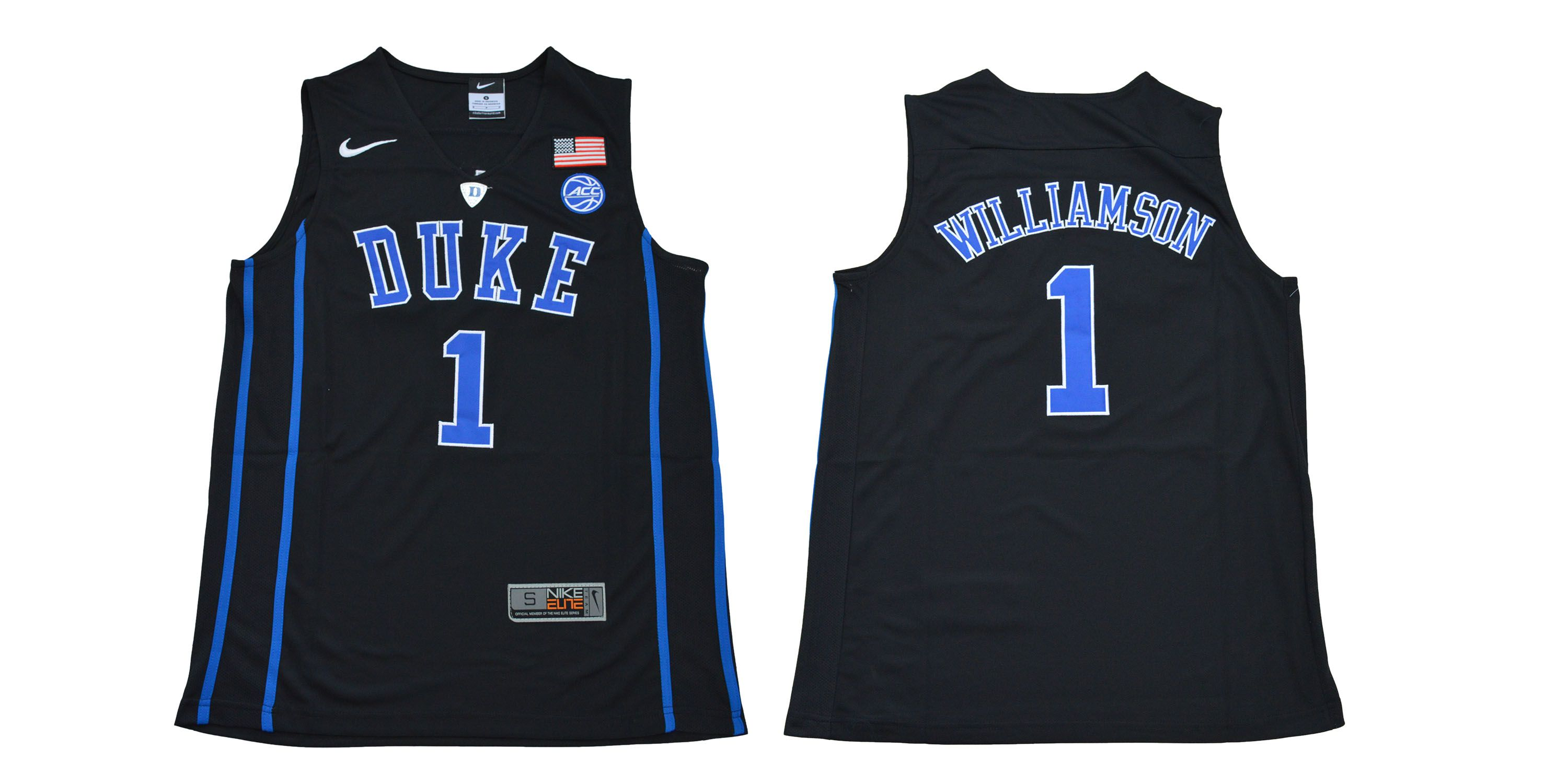 Men Duke Blue Devils 1 Williamson Black NBA NCAA Jerseys