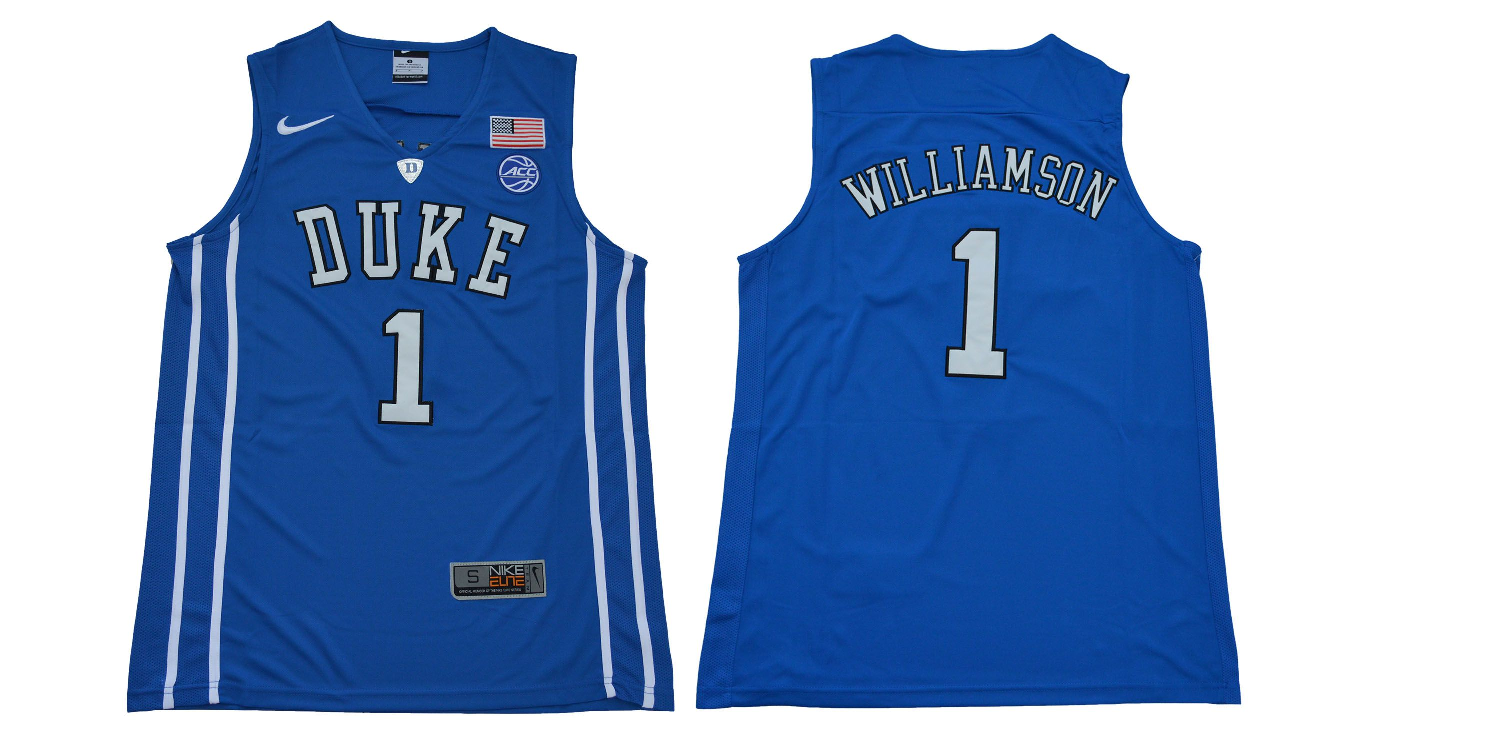 Men Duke Blue Devils 1 Williamson Blue NBA NCAA Jerseys