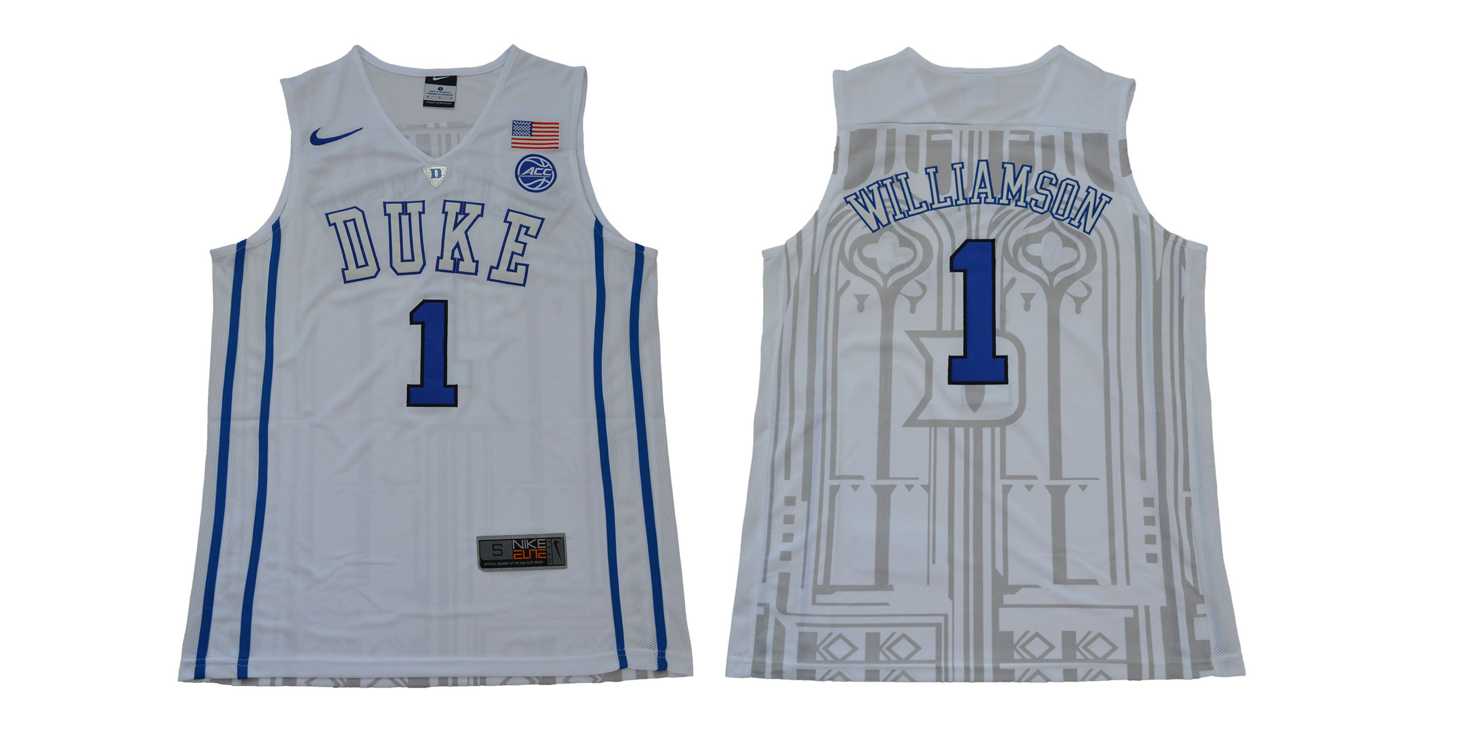 Men Duke Blue Devils 1 Williamson White NBA NCAA Jerseys