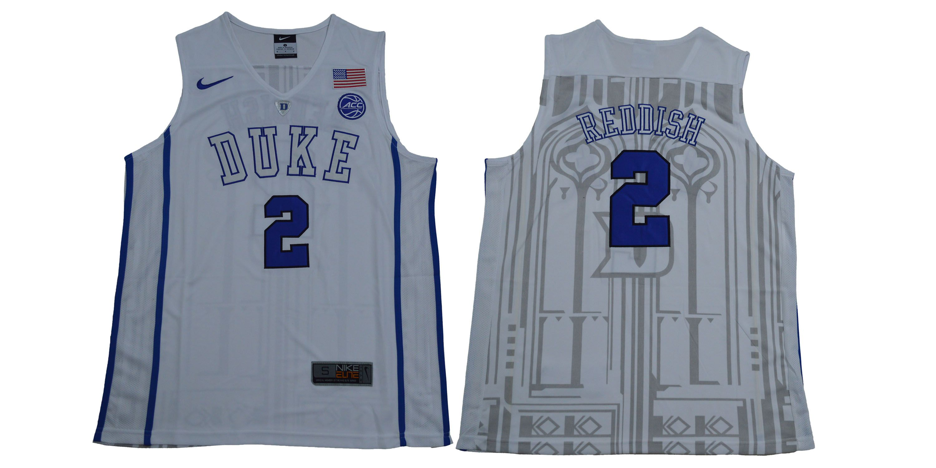 Men Duke Blue Devils 2 Reddish White NBA NCAA Jerseys