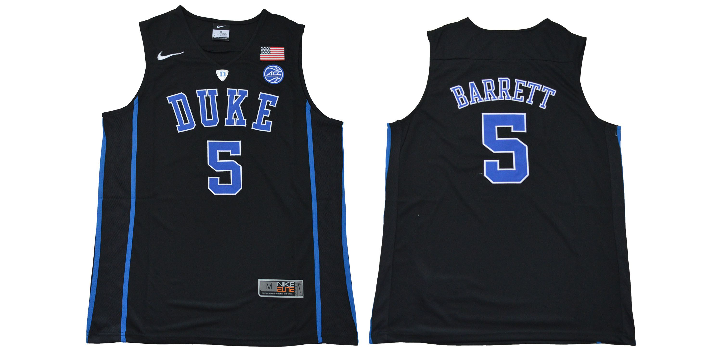 Men Duke Blue Devils 5 Barrett Black NBA NCAA Jerseys