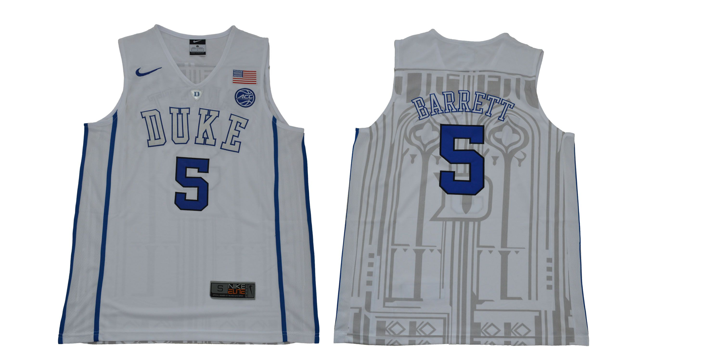 Men Duke Blue Devils 5 Barrett White NBA NCAA Jerseys