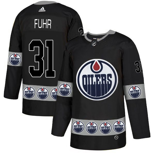 Men Edmonton Oilers 31 Fuhr Black Adidas Fashion NHL Jersey
