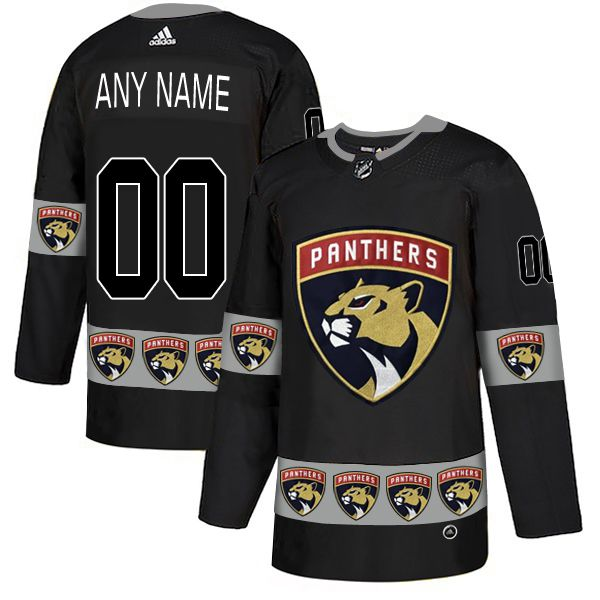 Men Florida Panthers 00 Any name Black Custom Adidas Fashion NHL Jersey