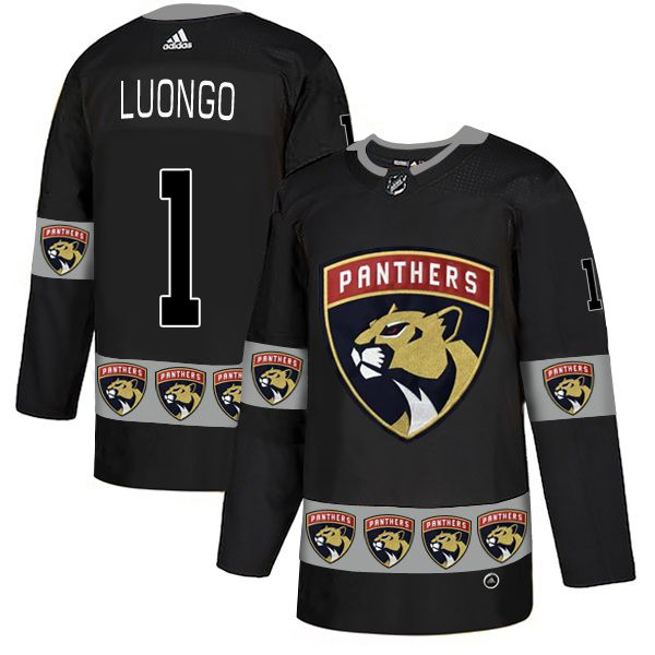 Men Florida Panthers 1 Luongo Black Adidas Fashion NHL Jersey