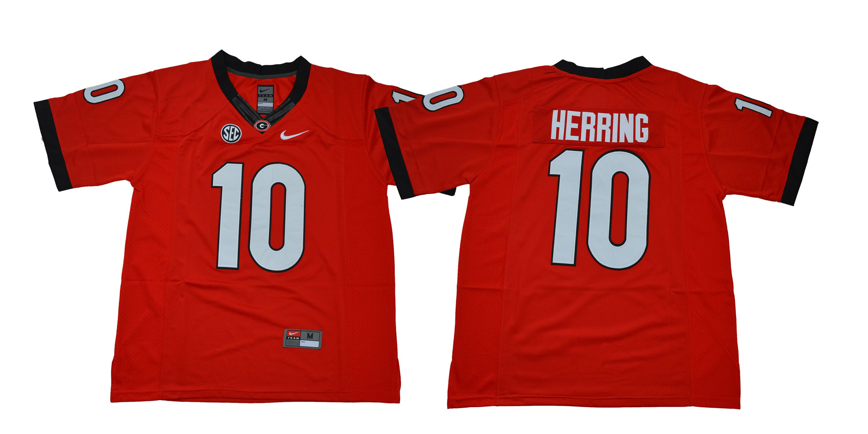 Men Georgia Bulldogs 10 Herring Red NCAA Jerseys