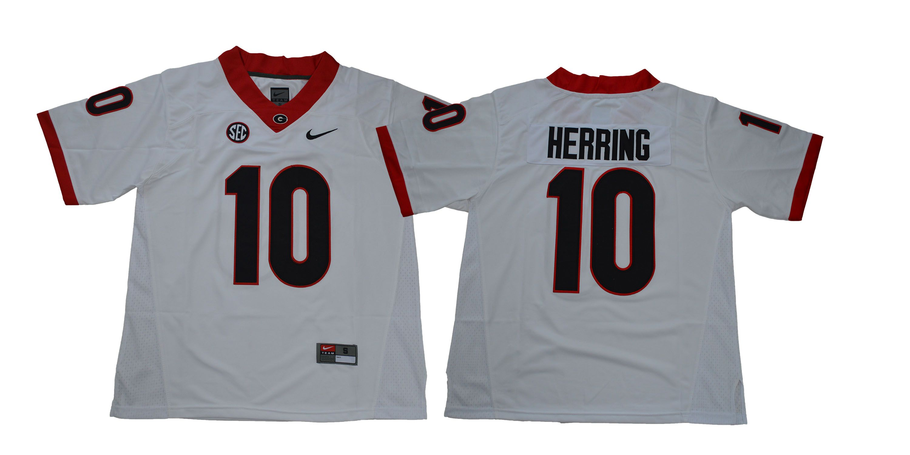 Men Georgia Bulldogs 10 Herring White NCAA Jerseys