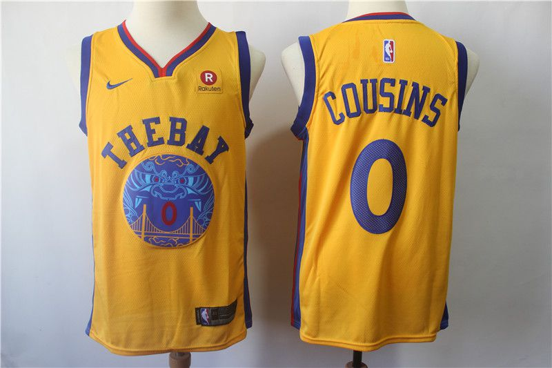 Men Golden State Warriors 0 Cousins Yellow Game Nike NBA Jerseys