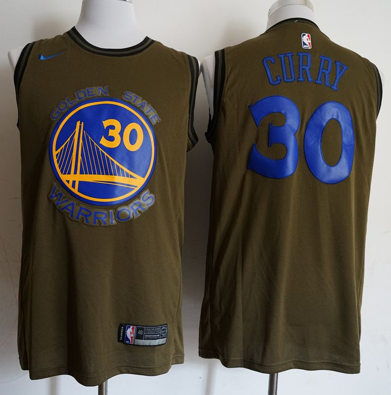 Men Golden State Warriors 30 Curry Military green Game Nike NBA Jerseys