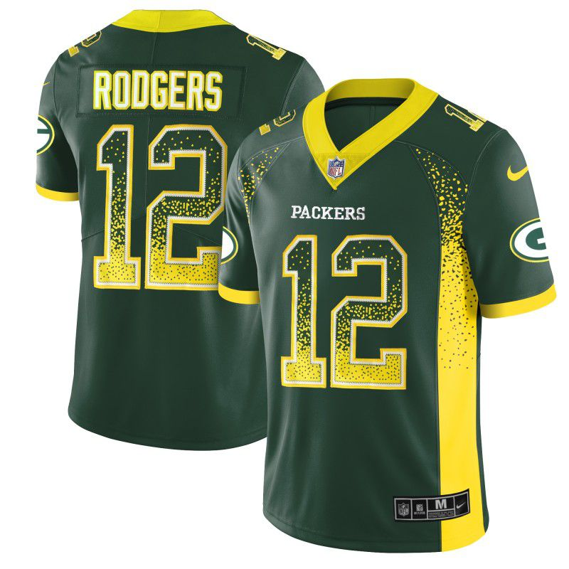 Men Green Bay Packers 12 Rodgers Green Nike Drift Fashion Color Rush Limited NFL Jerseys